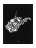 West Virginia Black and White Map Posters by  NaxArt