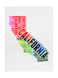 California Watercolor Word Cloud Prints by  NaxArt