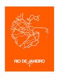 Rio de Janeiro Street Map Orange Posters por  NaxArt