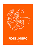 Rio de Janeiro Street Map Orange Prints by  NaxArt