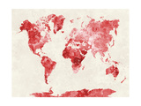 World Map in Watercolor Red Prints by  paulrommer