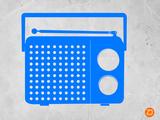 Blue Transistor Radio Plastic Sign by  NaxArt