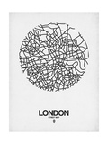 London Street Map White Affischer av  NaxArt