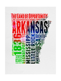 Arkansas Watercolor Word Cloud Posters by  NaxArt