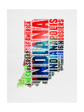 Indiana Watercolor Word Cloud Poster by  NaxArt