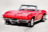 1964 Corvette Stingray Watercolor Plastic Sign by  NaxArt