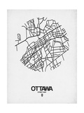 Ottawa Street Map White Prints by  NaxArt