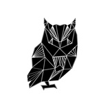 Black Owl Polygon Prints by Lisa Kroll