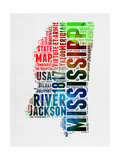 Mississippi Watercolor Word Cloud Prints by  NaxArt