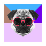 Party Pug in Pink Glasses Poster by Lisa Kroll