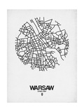 Warsaw Street Map White Posters by  NaxArt