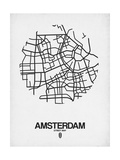 Amsterdam Street Map White Prints by  NaxArt