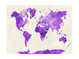 World Map in Watercolor Purple Poster by  paulrommer