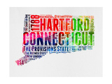 Connecticut Watercolor Word Cloud Posters by  NaxArt