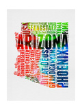 Arizona Watercolor Word Cloud Prints by  NaxArt
