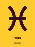 Pisces Zodiac Sign Brown Plastic Sign by  NaxArt