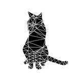 Smart Black Cat Polygon Poster by Lisa Kroll