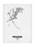 Panama Street Map White Art by  NaxArt