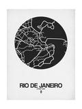 Rio de Janeiro Street Map Black on White Pôsters por  NaxArt