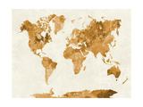 World Map in Watercolor Orange Prints by  paulrommer