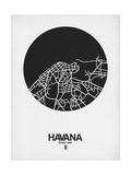 Havana Street Map Black on White Affiches par  NaxArt