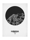 Havana Street Map Black on White Prints by  NaxArt