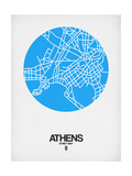 Athens Street Map Blue Posters by  NaxArt