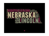 Nebraska Word Cloud 1 Prints by  NaxArt