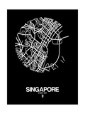 Singapore Street Map Black Poster by  NaxArt