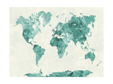 World Map in Watercolor Green Art by  paulrommer