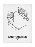 San Francisco Street Map White Print by  NaxArt