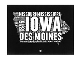 Iowa Black and White Map Prints by  NaxArt