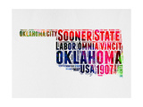 Oklahoma Watercolor Word Cloud Prints by  NaxArt