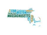Massachusetts Word Cloud Map Posters by  NaxArt