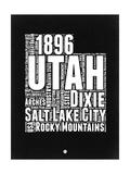 Utah Black and White Map Prints by  NaxArt
