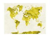 paulrommer - World Map in Watercolor Yellow Plakát