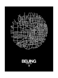 Beijing Street Map Black Posters by  NaxArt