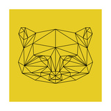 Yellow Raccoon Polygon Print by Lisa Kroll