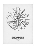 Budapest Street Map White Print by  NaxArt