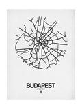 Budapest Street Map White Print by  NaxArt