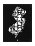 New Jersey Black and White Map Posters by  NaxArt