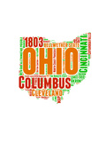 Ohio Word Cloud Map Prints by  NaxArt
