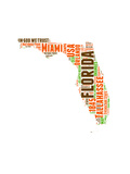 Florida Word Cloud Map Prints by  NaxArt