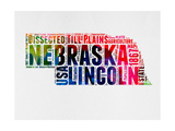 Nebraska Watercolor Word Cloud Prints by  NaxArt