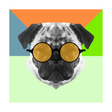 Party Pug in Yellow Glasses Prints by Lisa Kroll
