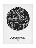 Copenhagen Street Map Black on White Prints by  NaxArt
