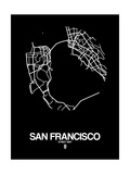 San Francisco Street Map Black Prints by  NaxArt