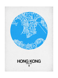Hong Kong Street Map Blue Poster by  NaxArt