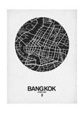 Bangkok Street Map Black on White Poster by  NaxArt