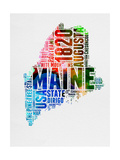 Maine Watercolor Word Cloud Posters by  NaxArt